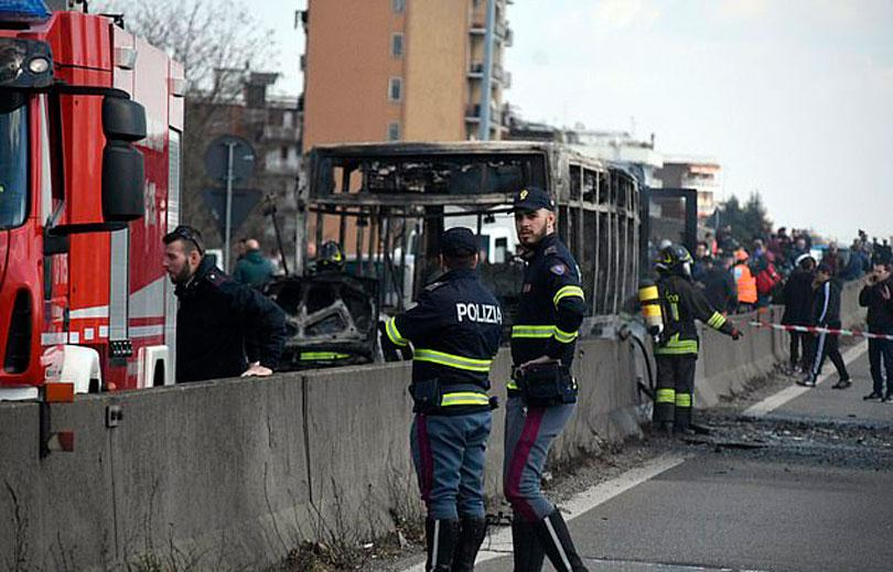 Italy school bus hijacked by driver