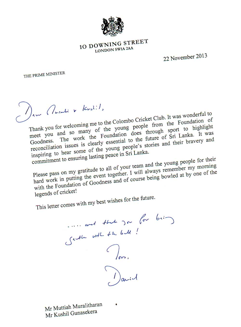 Letter from 10 downing st london and a bombshell on eu and usa speaker sadiq also paid a courtesy call on president mahinda rajapaksa at the parliamentary complex on the same day a statement issued by the pakistan high altavistaventures Choice Image