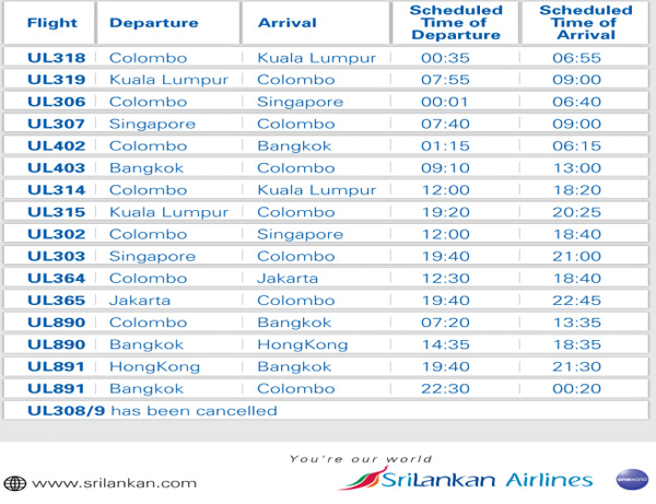 Srilankan flight times to change due to indian experiment - Singapore airlines kuala lumpur office ...