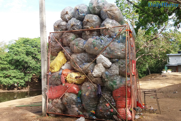 PET bottles collected by the volunteers