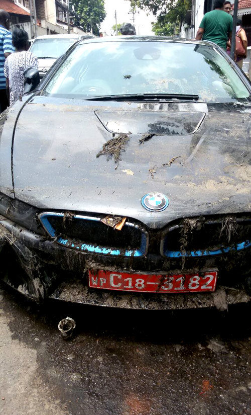 Bmw Ends Up In Canal After Crashing Into Two Vehicles Daily Mirror